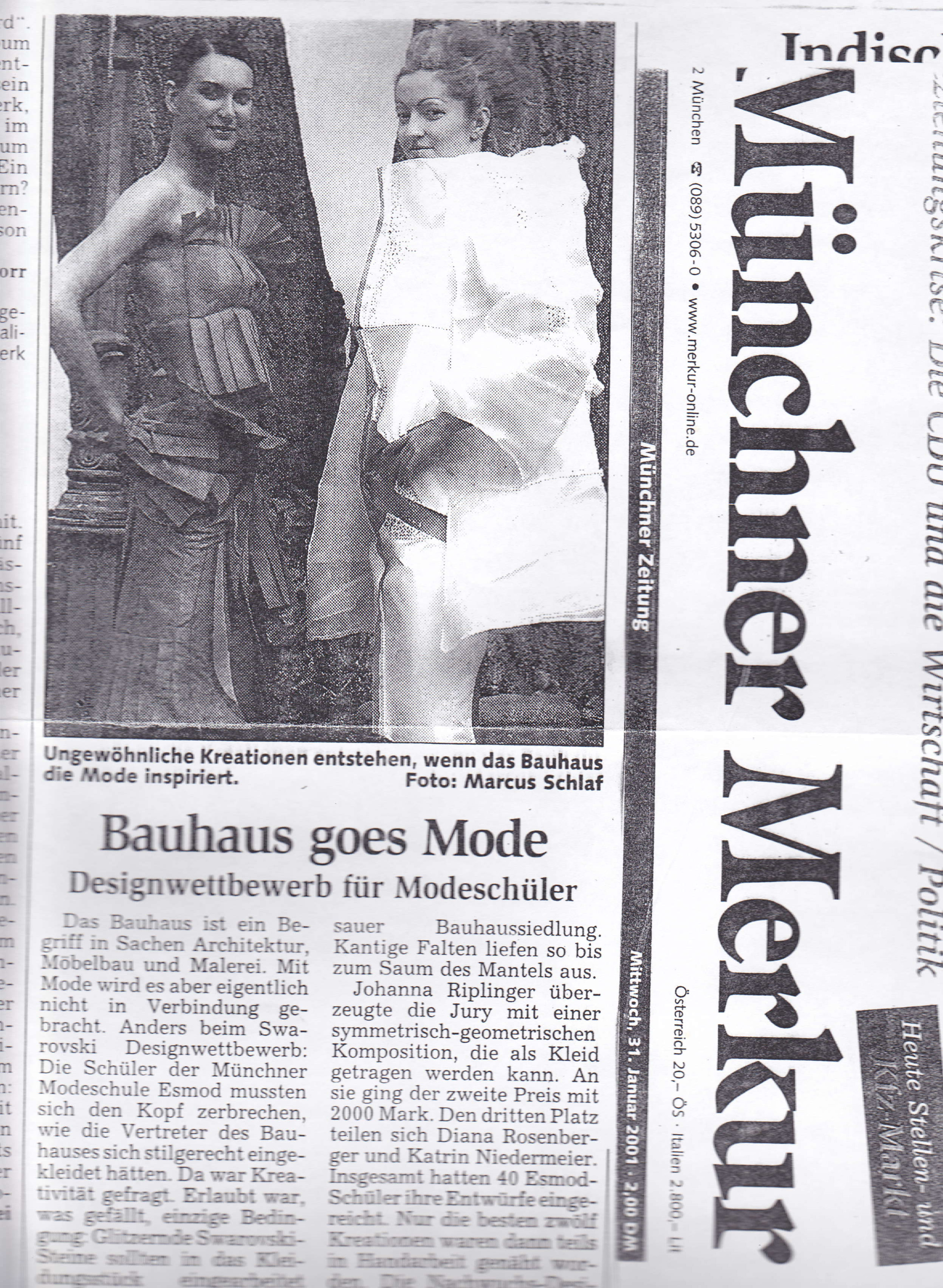Newspaper article showing my dress